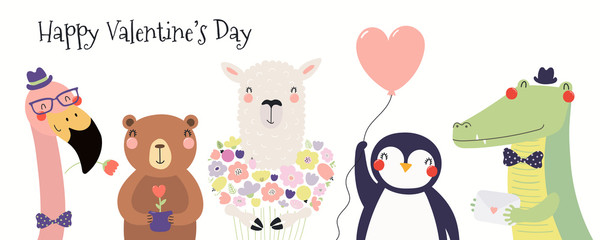 Foto auf Leinwand Abbildungen Hand drawn card with cute funny animals, hearts, text Happy Valentines day. Isolated objects on white background. Vector illustration. Scandinavian style flat design. Concept for children print.