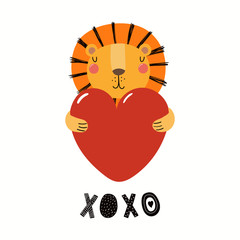 Photo Blinds Illustrations Hand drawn Valentines day card with cute funny lion holding heart, text XOXO. Isolated objects on white background. Vector illustration. Scandinavian style flat design. Concept for children print.