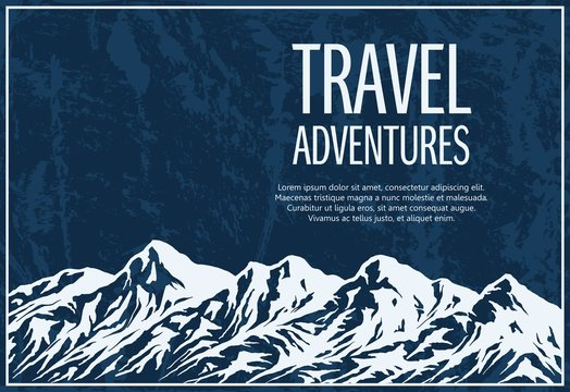 Mountaineering and travelling grunge background with huge mountain range silhouette. Vector illustration with copy-space.