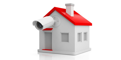Security Camera CCTV on a small house isolated on white background. 3d illustration