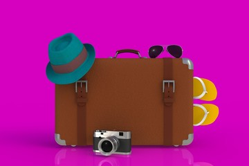 Suitcase of a traveler with  straw hat and retro film photo camera isolated on pink background, 3D rendering
