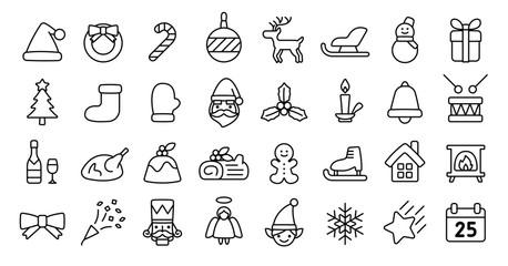 Christmas Icon Set (Thin Line Version)