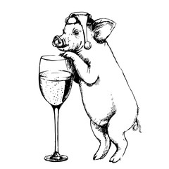 Sketch pig, hand drawn vector illustration. Piggy with a glass of champagne.