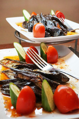 eggplant food with tomato and cucumber
