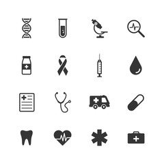 Healthcare and medical icons set. Vector illustration icons health, cross, dna, tablet. Collection modern icons infographic and medicine.
