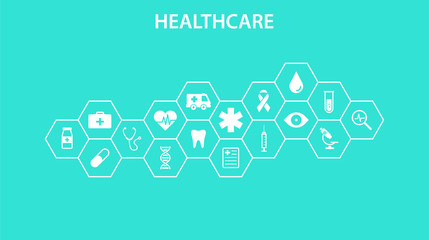 Healthcare concept. Abstract hexagons shape medicine and science background with icons for medical, health, strategy, care, medicine, health, cross, dna, poster, web banner. Vector illustration.