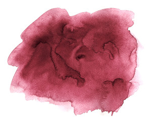 Burgundy wine watercolor abstract hand paint texture with stains and spots on white paper. Illustration background for design.