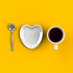 Top view of a cup of coffee with heart shape dish isolated on yellow background, Coffee concept illustration, 3d rendering