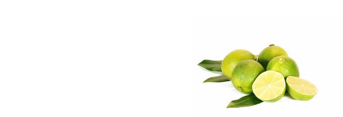 Limes, Limetten, Banner, Header, Headline, Panorama, freigestellt, isoliert, Textraum, copy space