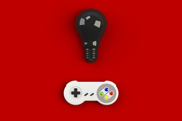Video game console GamePad. Gaming concept. Top view retro joystick with light bulb isolated on red background, 3D rendering