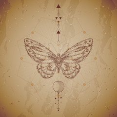 Vector illustration with hand drawn butterfly and Sacred geometric symbol on vintage paper background. Abstract mystic sign. Dot graphics.