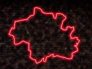 Berlin Neon Leuchtschild sign Umriss Silhouette Map Karte