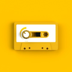 Close up of vintage audio tape cassette with volume knob concept illustration on yellow background, Top view with copy space, 3d rendering