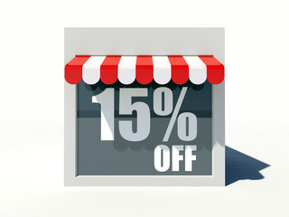 15% off sign on small shop store facade with red awning