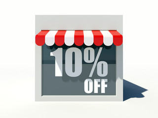 10% off sign on small shop store facade with red awning