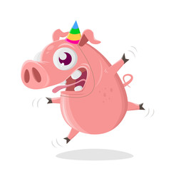 funny cartoon pig is ready to party