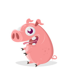 funny cartoon illustration of a sitting pig