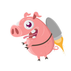 funny cartoon pig flying with jetpack