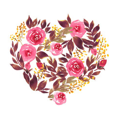 Watercolor heart shape made of roses for Valentine's day. Floral illustration in pink and purple