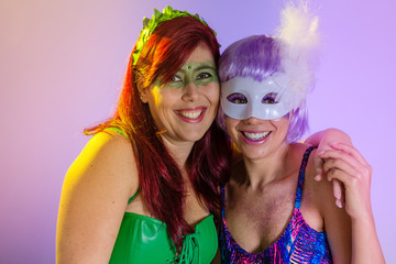 Carnaval Brazil. Face of brazilian women with violet wig and make up mask. Bright and Colorful. Holiday concept, tradition and costume.