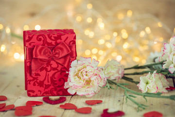 Valentines Day Concept , Flowers anf Gift ,Love Concept