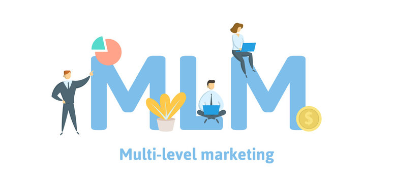 MLM, Multi Level Marketing. Concept with keywords, letters, and icons. Colored flat vector illustration. Isolated on white background.
