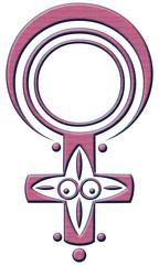 Kleine Venus Göttin. Frauenpower Motiv in Form des weiblichen Symbols. Rosa.