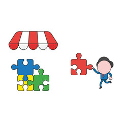 Vector illustration of businessman character carrying missin puzzle piece to three connected puzzle pieces under store roof. Color and black outlines.