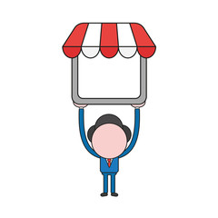Vector illustration of businessman character holding up shop store. Color and black outlines.