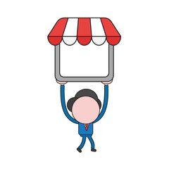 Vector illustration of businessman character walking and carrying shop store. Color and black outlines.