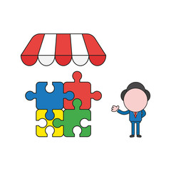 Vector illustration of businessman character with four connected jigsaw puzzle pieces under store roof. Color and black outlines.