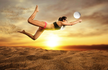 Female volley ball beach  player