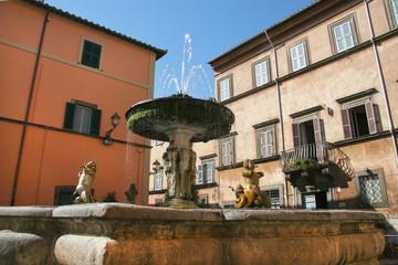 Main fountain in Tuscania, Viterbo, Lazio Region, Italy.