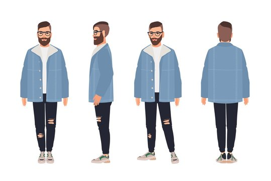 Bearded man wearing glasses, jacket and jeans. Hipster guy dressed in fashionable clothes. Male cartoon character isolated on white background. Street style outfit. Flat colored vector illustration.