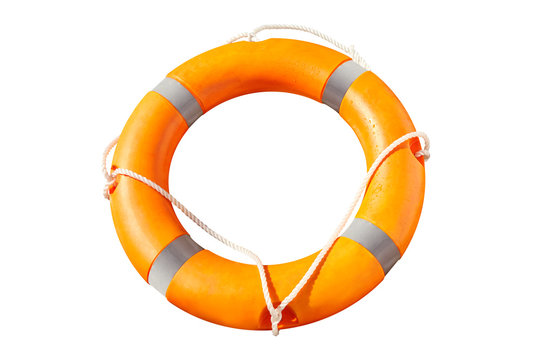 Orange lifebuoy isolated