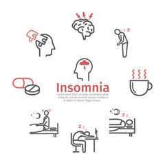 Insomnia banner, Symptoms. Line icons set. Vector signs for web graphics.