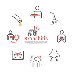 Bronchitis banner. Line icons. infographic symbol. Vector sign for web graphic.