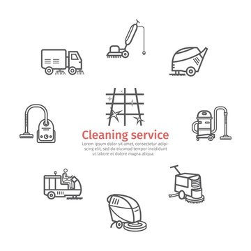 Industrial Cleaning Service banner. Worker. Vacuum Scrubber. Sweeper Machines. Thin line icon set. Vector illustration.