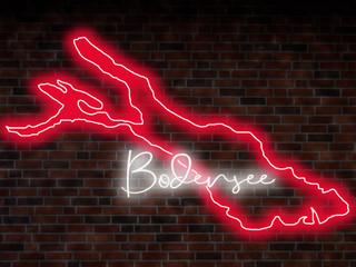 Bodensee Neon sign Leuchtschild Silhouette Umriss Karte Bild Map See