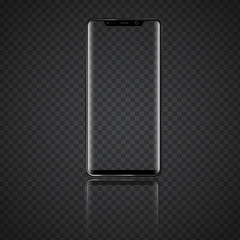 Modern Smartphone with front view and Transparent Screen. High detailed vector illustration.