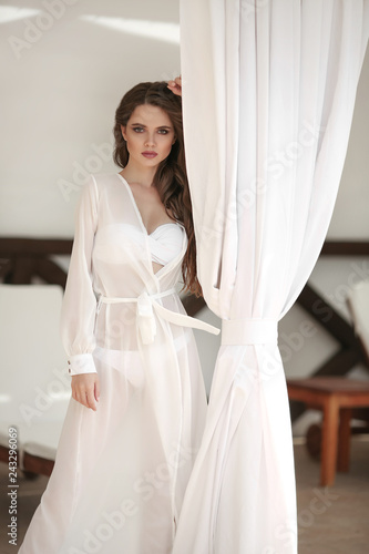 b0eb352fbfb Outdoor portrait of young beautiful girl. Сarefree sexy brunette wearing in  chiffon Wear dress by