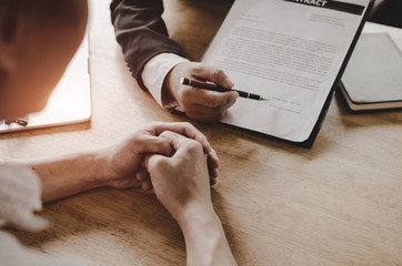 legal consultants, notary or justice lawyer discussing contract document on desk with client customer in courtroom office, business, justice law, insurance, legal service, buy and sell house concept