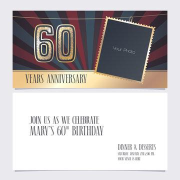 60 years anniversary invitation vector illustration. Graphic design element