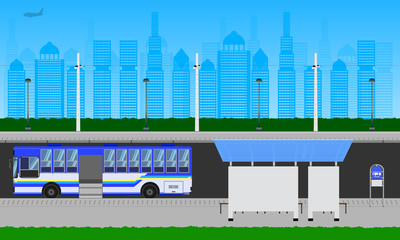outdoor road in the city blue sky bus stop at station pole lamp sign horizontal vector illustration eps10