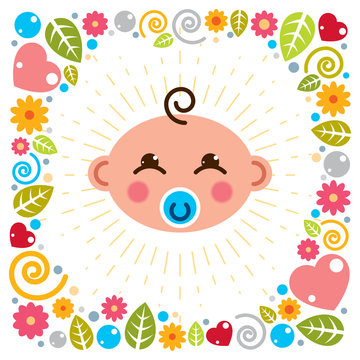 Cute baby cartoon vector flat icon, adorable happy and smiling child with nipple emoji. With nice childish frame of flowers, hearts and leaves.