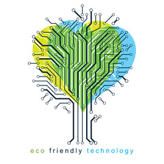 Graphic vector illustration of tree in the shape of romantic heart created in communication technology design. Eco friendly technology concept.