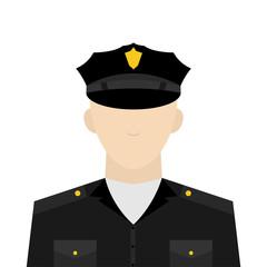 icon, vector illustration. profession concept of a policeman man