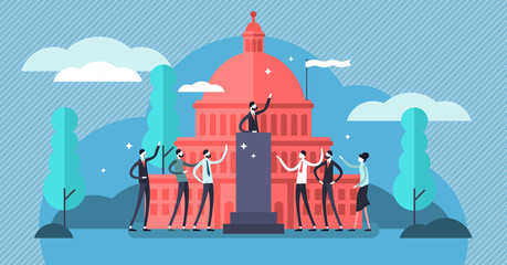 Government vector illustration. Flat tiny political speech persons concept.