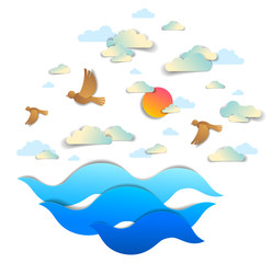 Beautiful seascape with sea waves, birds clouds and sun in the sky, vector illustration in paper cut style, water travel summer holidays theme.