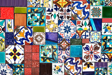 Colorful wall tiles As a guideline for building decoration.